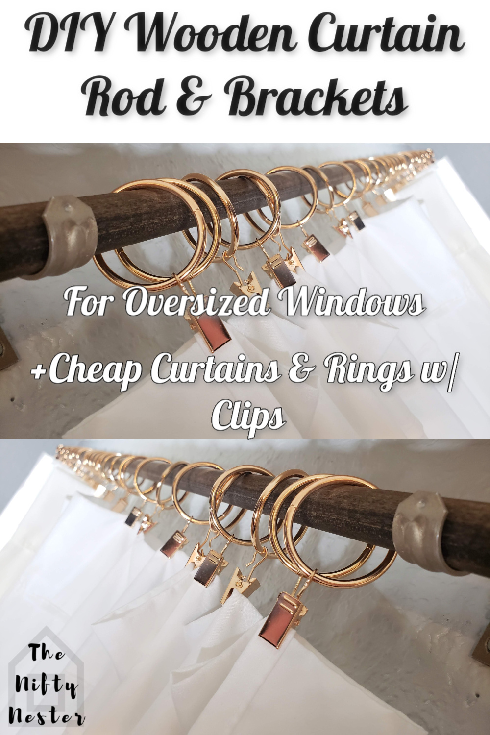 diy wooden curtain rods and brackets