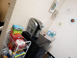 dorm room kitchen area storage