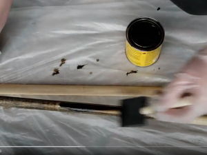 staining diy wooden curtain rod